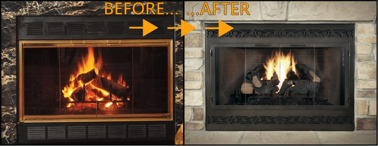 Before and After Fireplace Doors